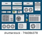 vector set of air conditioners | Shutterstock .eps vector #746086378
