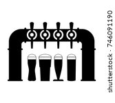 black silhouette of beer pump... | Shutterstock .eps vector #746091190