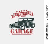 classic retro car badge logo... | Shutterstock .eps vector #746094844
