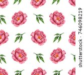 watercolor seamless floral...   Shutterstock . vector #746098219