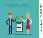 businessman and businesswoman... | Shutterstock .eps vector #746099200