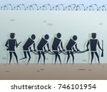 symbolic black figures chained... | Shutterstock . vector #746101954