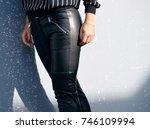 black leather pants | Shutterstock . vector #746109994