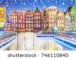 traditional dutch old houses on ... | Shutterstock . vector #746110840