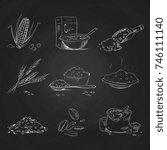 doodle cereals groats and... | Shutterstock .eps vector #746111140