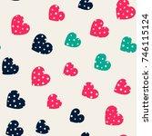 seamless hearts pattern. simple ... | Shutterstock . vector #746115124