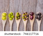 different types of olives from... | Shutterstock . vector #746117716