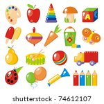 colorful  toys for children - stock vector