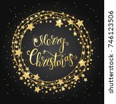 merry christmas gold text for... | Shutterstock .eps vector #746123506