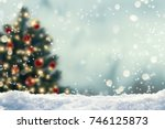 blurred christmas tree, snow, christmas, background - stock photo