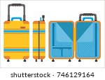 yellow suitcase isolated on... | Shutterstock .eps vector #746129164
