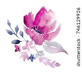 watercolor hand drawn floral... | Shutterstock . vector #746129926