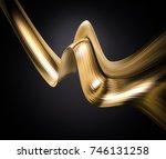 golden foil ribbon. 3d... | Shutterstock . vector #746131258
