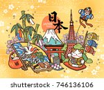 lovely japan travel concept ... | Shutterstock .eps vector #746136106