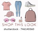 collection of fashionable... | Shutterstock .eps vector #746140360