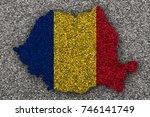 textured map of romania in nice ... | Shutterstock . vector #746141749