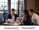 business people working with... | Shutterstock . vector #746145694