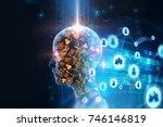 virtual human 3dillustration on ... | Shutterstock . vector #746146819