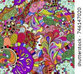 tracery seamless pattern.... | Shutterstock .eps vector #746147020