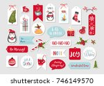 set of cute merry christmas and ... | Shutterstock .eps vector #746149570