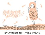 vector christmas card with... | Shutterstock .eps vector #746149648
