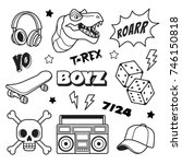 boys patches collection. vector ... | Shutterstock .eps vector #746150818