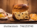 panettone. italian traditional... | Shutterstock . vector #746153740