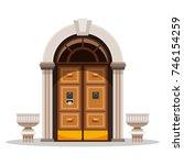entrance doors. design of the...   Shutterstock .eps vector #746154259