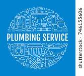 plumbing service blue banner... | Shutterstock .eps vector #746155606