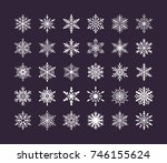 cute snowflakes collection... | Shutterstock .eps vector #746155624