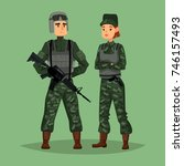 cartoon soldiers with weapon or ... | Shutterstock .eps vector #746157493