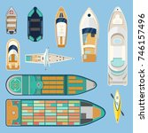 set of isolated boats top view. ... | Shutterstock .eps vector #746157496