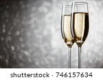 festive picture of two wine... | Shutterstock . vector #746157634