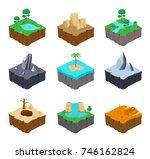 set of isometric game islands....   Shutterstock . vector #746162824
