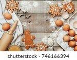 xmas baking or cooking... | Shutterstock . vector #746166394