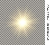 Golden Shining Vector Sun With...