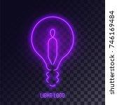purple neon lightbulb logo... | Shutterstock .eps vector #746169484