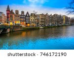 evening city view of amsterdam  ... | Shutterstock . vector #746172190