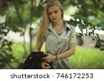 summer beautiful young blonde...   Shutterstock . vector #746172253