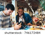 mixed race couple of...   Shutterstock . vector #746172484