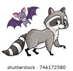 raccoon and bat isolated on a... | Shutterstock .eps vector #746172580