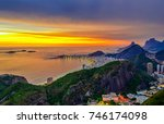 sunset view of copacabana and... | Shutterstock . vector #746174098