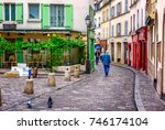 view of cozy street in quarter... | Shutterstock . vector #746174104