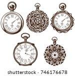antique pocket watch | Shutterstock .eps vector #746176678