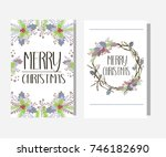 merry christmas card. vector... | Shutterstock .eps vector #746182690