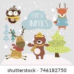 forest animals set. vector... | Shutterstock .eps vector #746182750