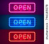 neon signboard 24 7 open time... | Shutterstock .eps vector #746185078