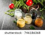 set of dressings for salad ...   Shutterstock . vector #746186368