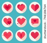 set of vector hearts. valentine'... | Shutterstock .eps vector #746186764