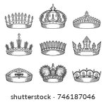 sketch for king or monarch ... | Shutterstock .eps vector #746187046